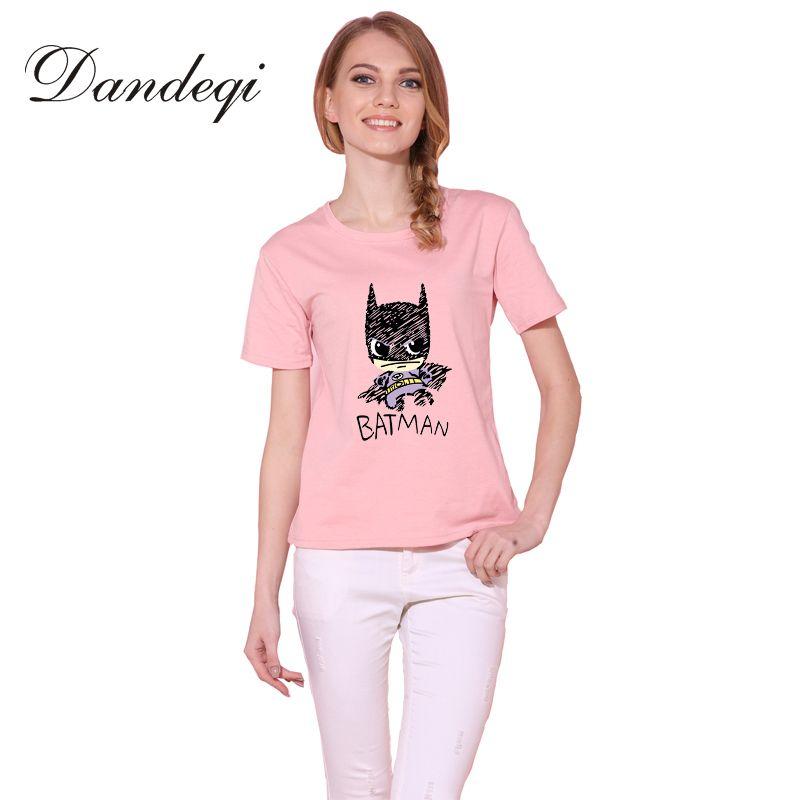 Dandeqi Blusa Vente D'été Style Femmes T-shirt Batman Imprimé T-shirts Qualité Super Hero De Base Harajuku Coton Basant Tops