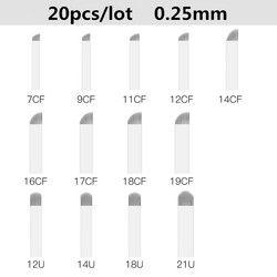 20 piezas tatuaje agujas permanente maquillaje agujas de Microblading de la lámina del tatuaje de la ceja CF/U formas para 3D Manual del tatuaje del bordado pluma