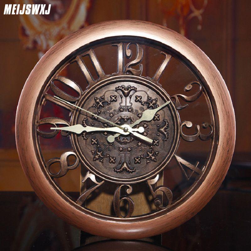 Meijswxj 3D horloge murale Saat horloge Reloj De Pared Duvar Saati Vintage numérique horloges murales salon décoration murale fournitures