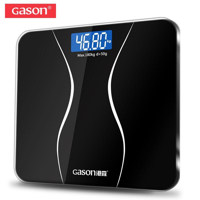 GASON A2 Bathroom Floor Body <font><b>Scale</b></font> Glass Smart Household Electronic Digital Weight Balance Bariatric LCD Display 180KG/50G