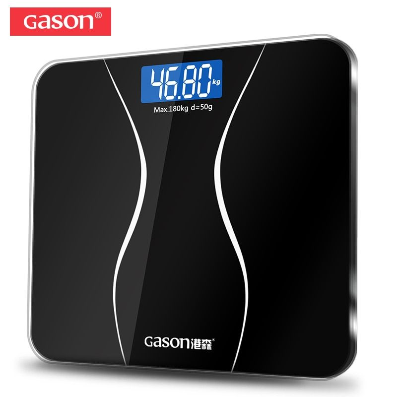 GASON A2 Bathroom Floor Body Scale Glass Smart Household Electronic Digital Weight Balance Bariatric LCD Display 180KG/50G
