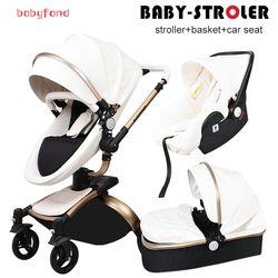 Babyfond Leather stroller luxury baby stroller 3 in 1 folding four wheels baby stroller baby car child stroller send gifts