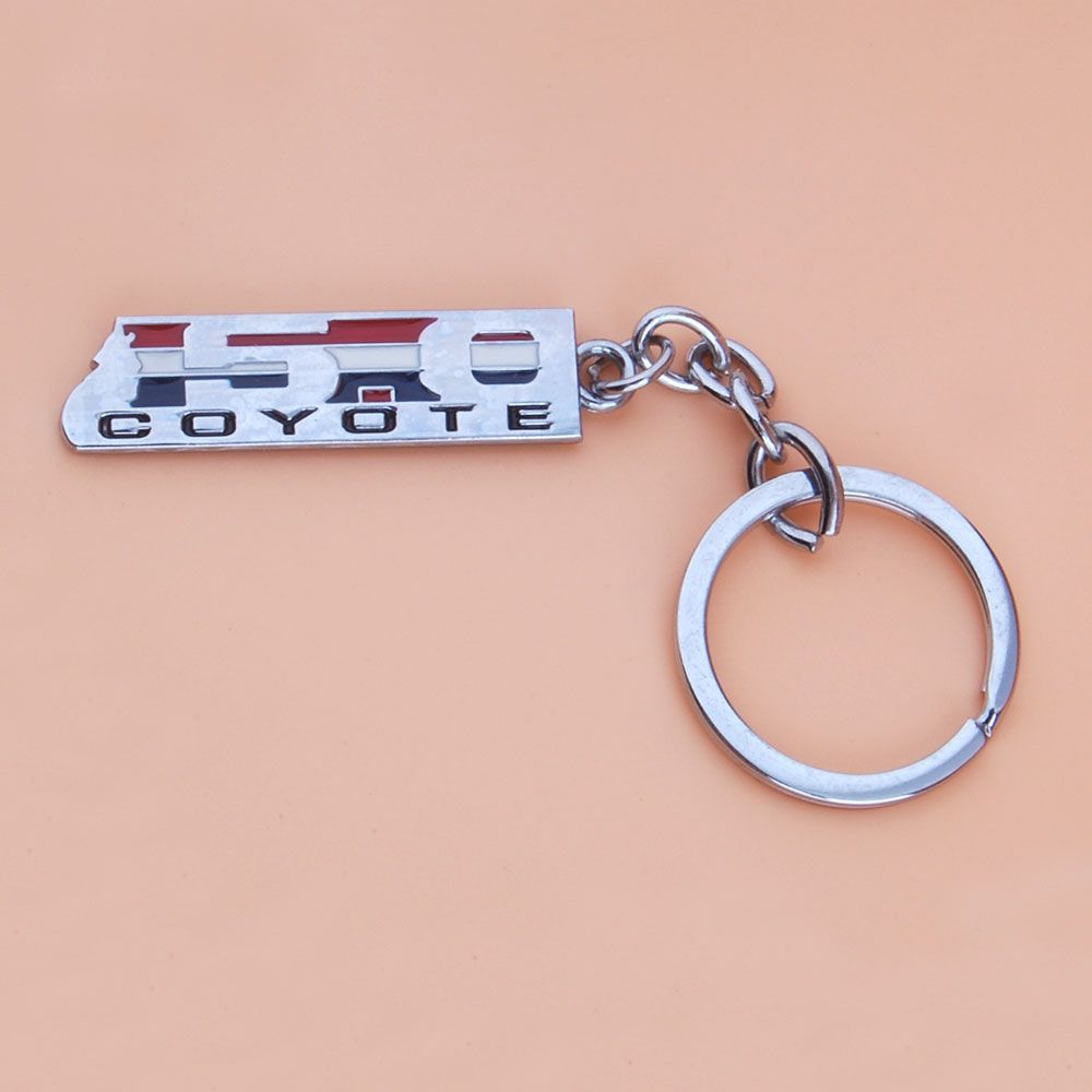 BBQ@FUKA 1pcs Car styling 5.0 COYOTE emblem sticker Car key ring for Ford F-150 Mustang GT Key Chain Fob Ring Keychains trims