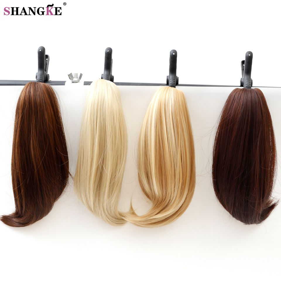 SHANGKE Short Straight Clip In Hair Tail False Hair Ponytail  Hairpins Synthetic Heat Resistant Fake Hair Piece