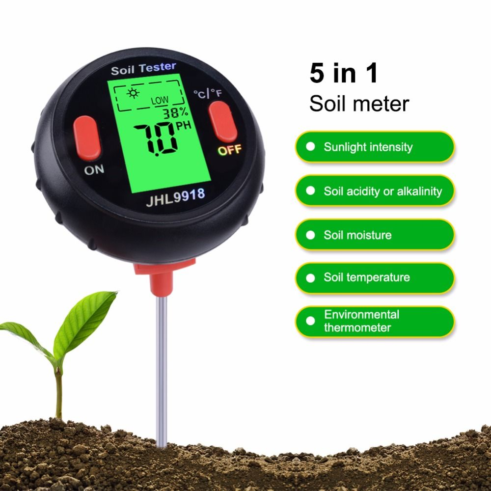 Yieryi New 5 In 1 Soil Analyzer (Temperature / Humidity / Llluminance / PH / Water Content) for Landscaping,Vegetable Planting
