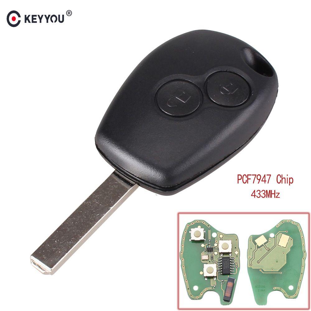 KEYYOU 2 Tasten Keyless Fernbedienung Schlüssel Fob 433 MHz mit PCF7947 Chip Für Renault Clio Kangoo Master Modus Twingo