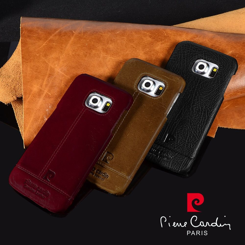 Pierre Cardin Genuine Leather 2016 Luxury Cell Phones Case For Samsung Galaxy S7/S7 edge S6/S6edge plus S8 S8 Plus Back Cover