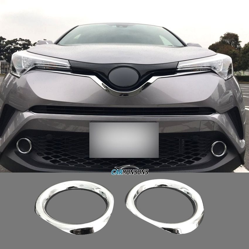 Carmonsons for Toyota C-HR CHR Front Fog Light Lamp ABS Chrome Decoration Trim Frame Stickers Cover Accessories Car Styling