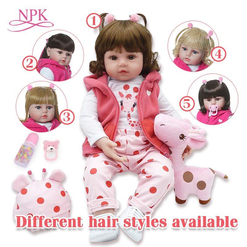 Bebe poupée reborn 48 cm Silicone reborn bébé poupée adorable réaliste bambin Bonecas fille menina de surprice poupée avec les mains ouvertes
