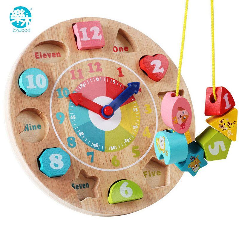 Jouet bébé jouets en bois horloge en bois modèle blocs de construction numéro et Animal perlé Monterssori apprentissage jeux de société éducatifs
