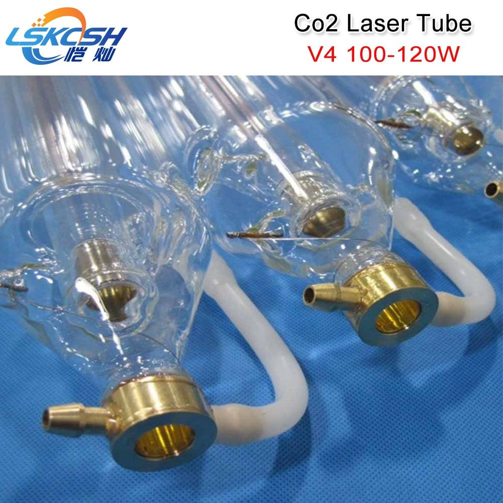 LSKCSH Co2 laser tube V4 100W 120W CO2 Laser Tube 1450mm length 80mm diameter packed in Wooden case with Free wire connection