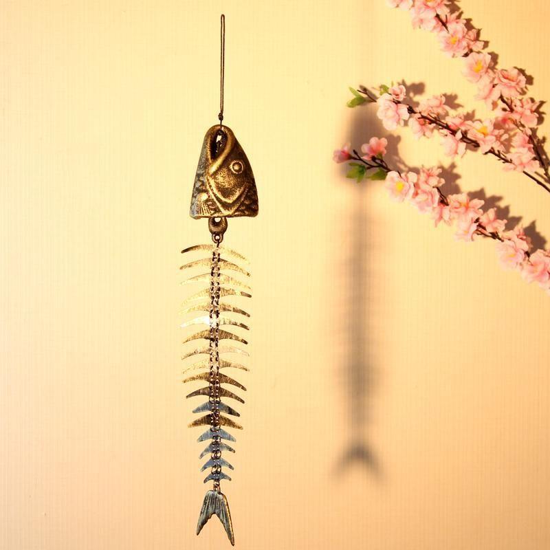 Antique Imité Home Decor Vent Cloche, Style japonais Fonte D'os de Poissons En Forme de Vent Carillon pour Porte Patio Balcon Décoration
