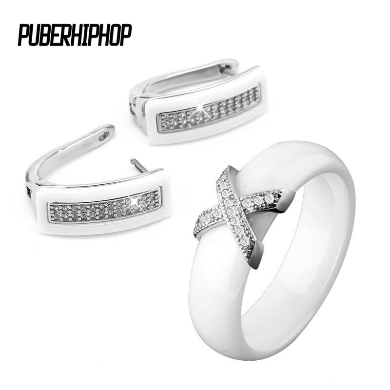 2017 Big Discount Black White Stainless Steel Jewelry Set For Women AAA Bling Cubic Zircon Ring And Earring Set Birthday Gift