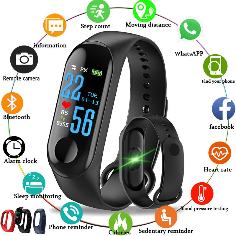 3 colors smart bracelet 0.96 inch color screen with heart rate monitor smartband for Android iOS xiaomi mi band 2 3 4
