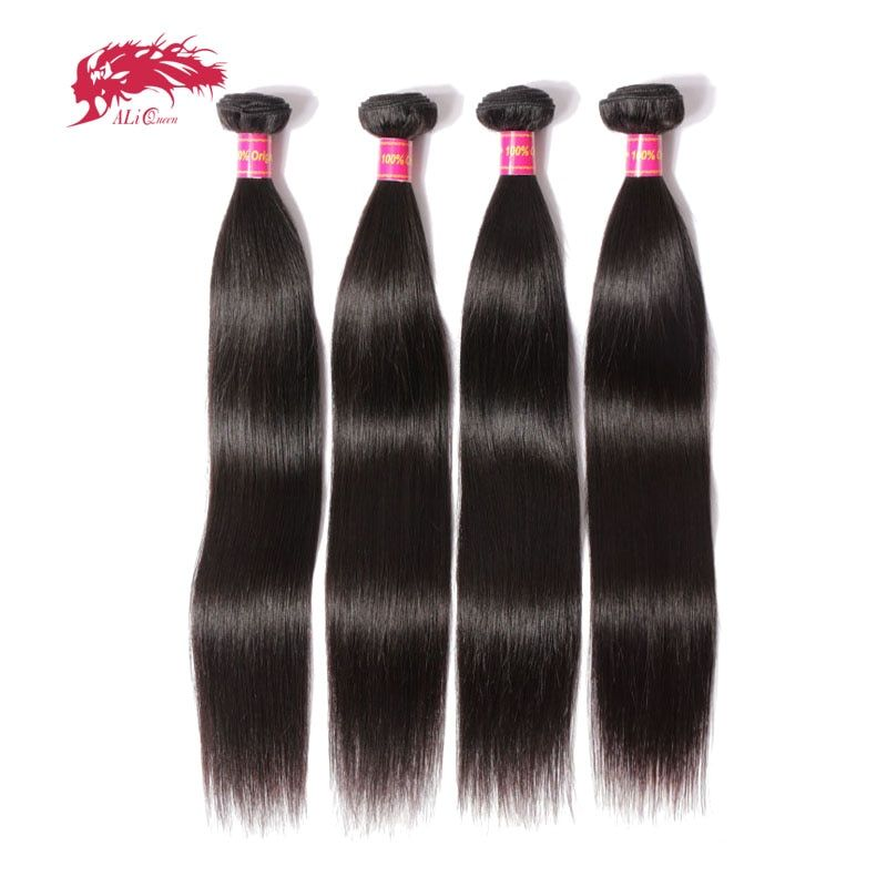 Ali Queen Hair Products 4pcs Lot Natural Color 8