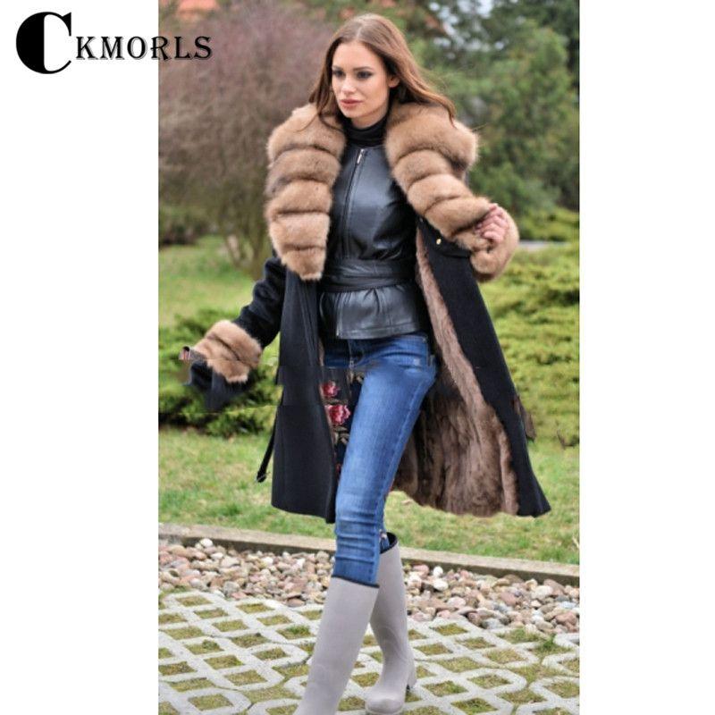 CKMORLS New Women Real Fur Parkas Winter Woolen Coats With Natural Fox Fur Collar Long Black Fur Jacket Slim Fashion Coat Casual