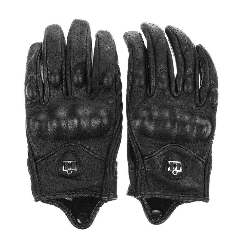 Мужские перчатки мотоцикла Спорт на открытом воздухе Полный палец мотоцикле защитные доспехи высокого качества черные короткие кожаные пе...