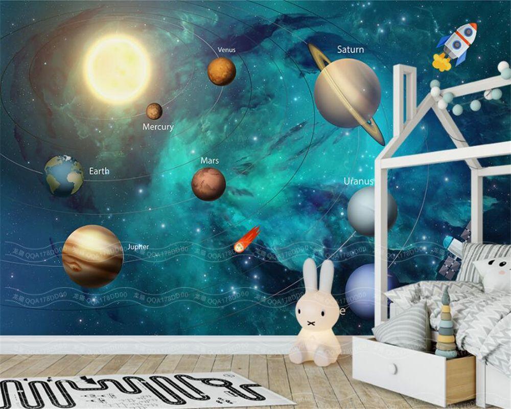 Beibehang 3d обои ручной росписи пространство вселенной детская комната фоне стены фрески гостиной ТВ обои для стен 3 D