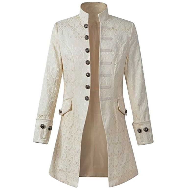 LASPERAL Vintage Plus Size Men Jacket Velvet Trim Steampunk Jacket Long Sleeve Gothic Brocade Jacket Frock Coat