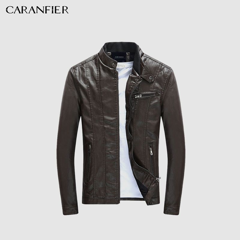 CARANFIER Men's PU Jackets Coats Motorcycle Leather Jackets Men Autumn Spring Leather Clothing Male Casual Coats Clothing 3XL