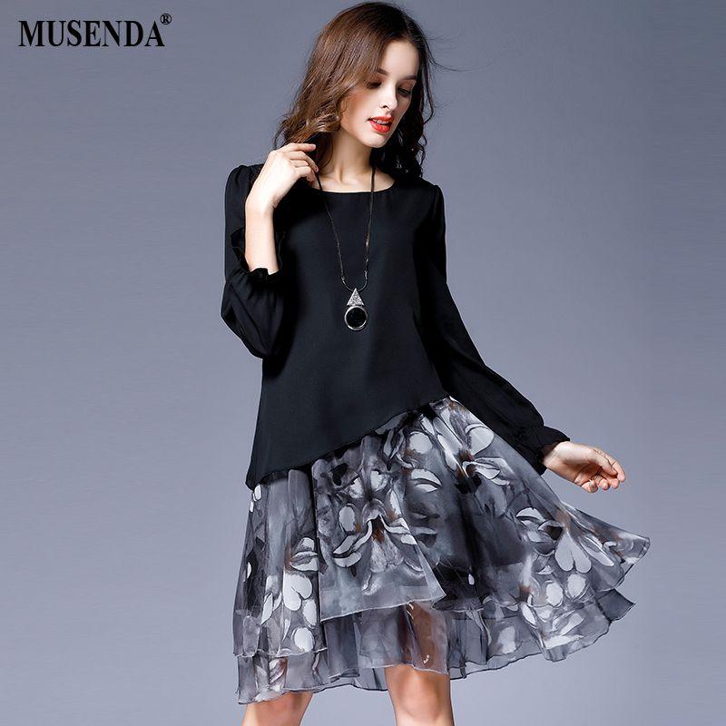 MUSENDA Plus Size Women Chiffon Print Draped Long Flare Sleeve Dress 2017 Autumn Female Sweet Party Dresses Vestido Clothing