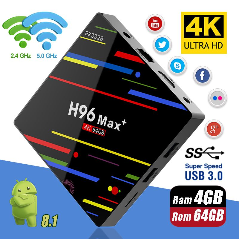 H96 MAX Plus Android 8.1 4G 32G 64G Set Top Boxes 4K Ultra HD H.265 Smart TV Box USB 3.0 Dual Wifi 2.4/5.0G Media Player