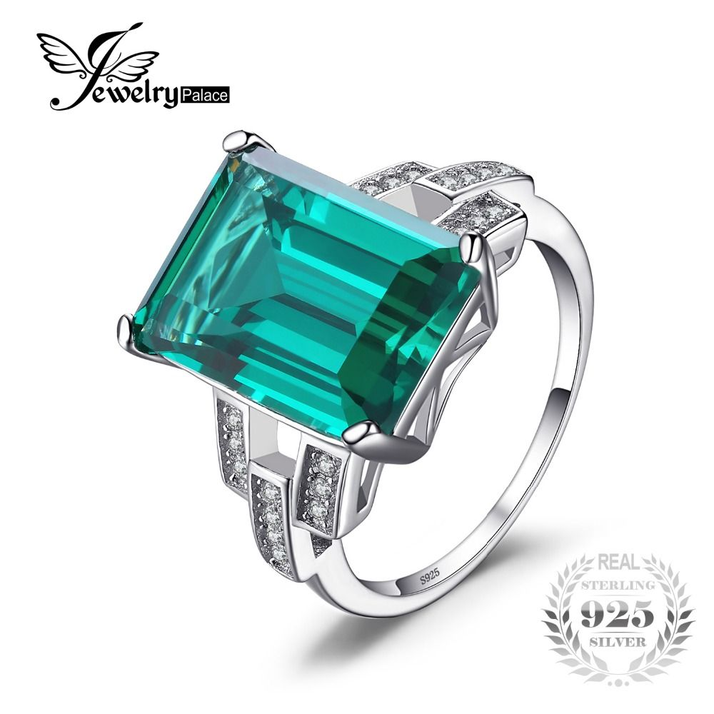 JewelryPalace Luxury 5.9ct Created Emerald Cocktail Ring 100% Real 925 Sterling Silver Rings for Women Fine Jewelry <font><b>Accessories</b></font>