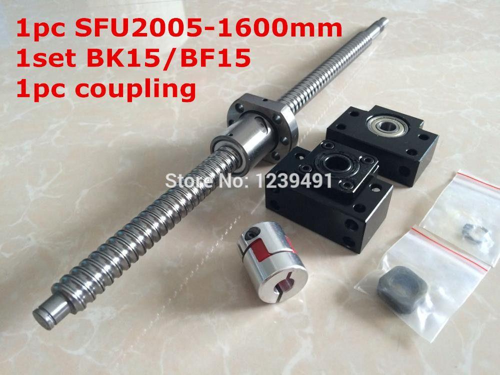 SFU2005 - 1600mm ballscrew + SFU2005 ball nut + BK15 BF15 support + 8*12mm Coupling CNC parts