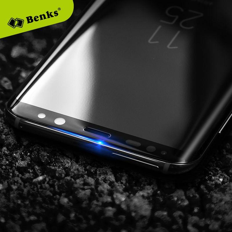Benks Verre Pour Samsung Galaxy S8 S8 Plus 3D chaleur flexion bord Complet Trempé protecteur d'écran en verre Pour S8 Scratch Proof Noir