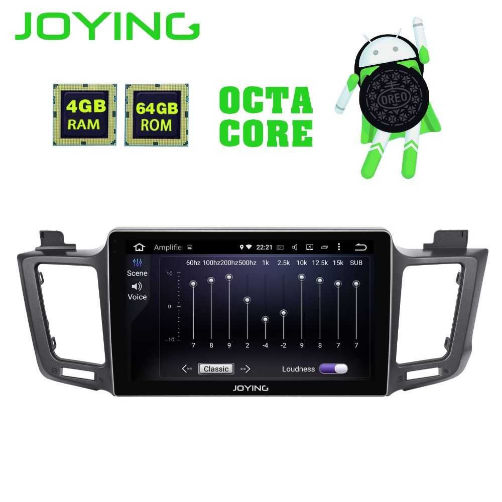 JOYING 64GB ROM 4GB RAM Android 8.1 Octa Core autoradio stereo DVD player 10.1'' IPS screen for Toyota RAV4 2012 2013 2014 2015