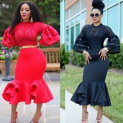 2017 african dresses for women african clothes maxi dress africa outfit dress gown elegant lady mermaid robe