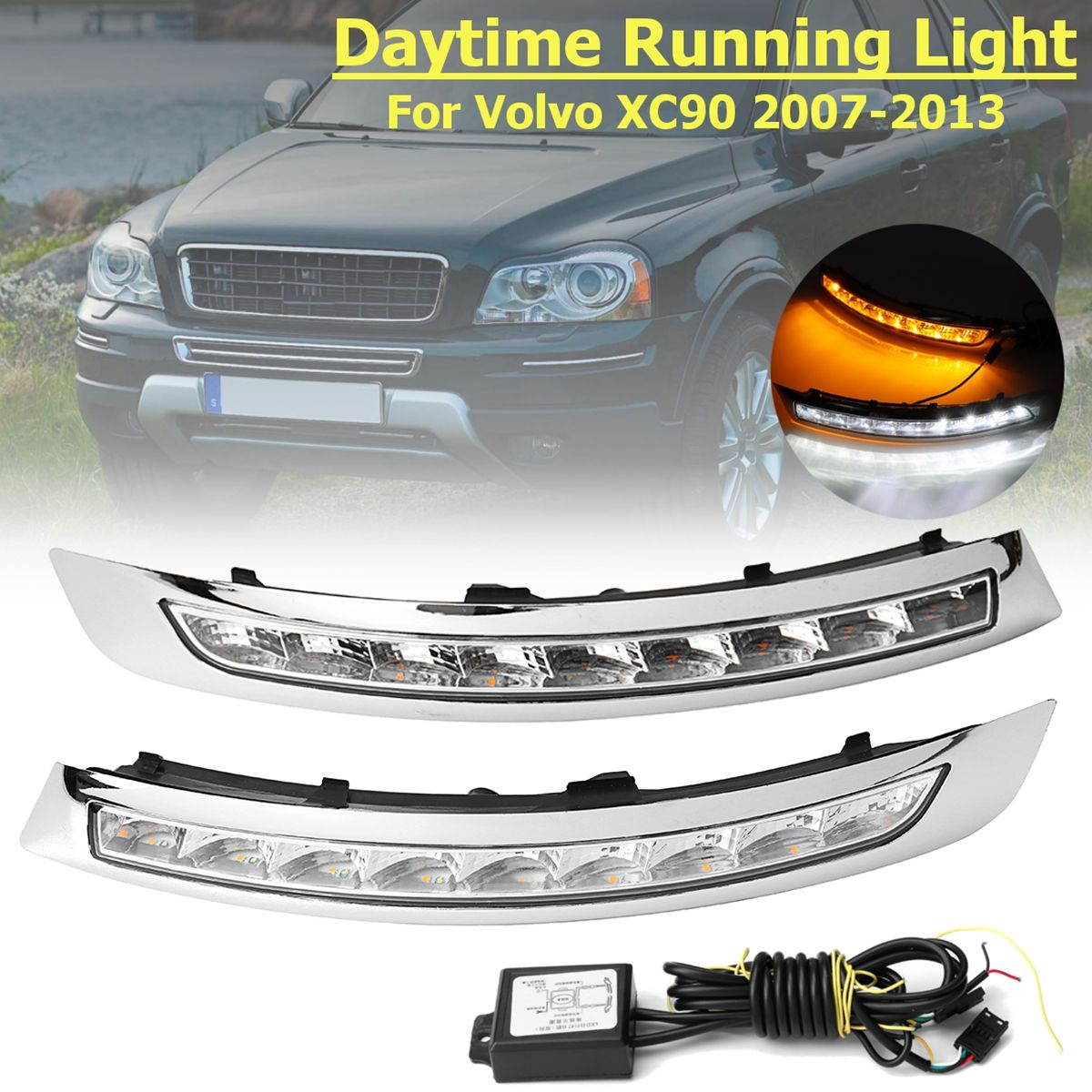 1 Pair Daytime Running Lights LED DRL Lamp Turning Signal fog lamp For Volvo XC90 2007 2008 2009 2010 2011 2012 2013