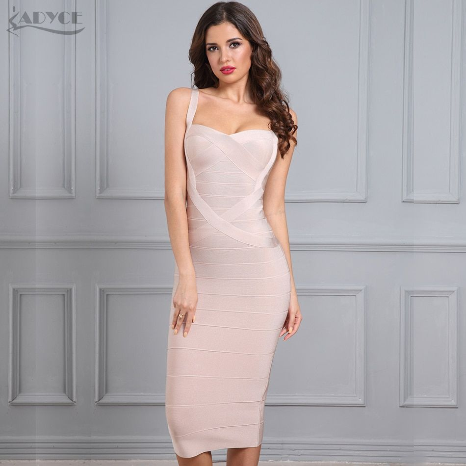 Adyce 2018 New Woman Bandage Dress Bodycon Party Dress Red Black Blue White Pink Yellow Sexy Celebrity Backless Dresses Vestido