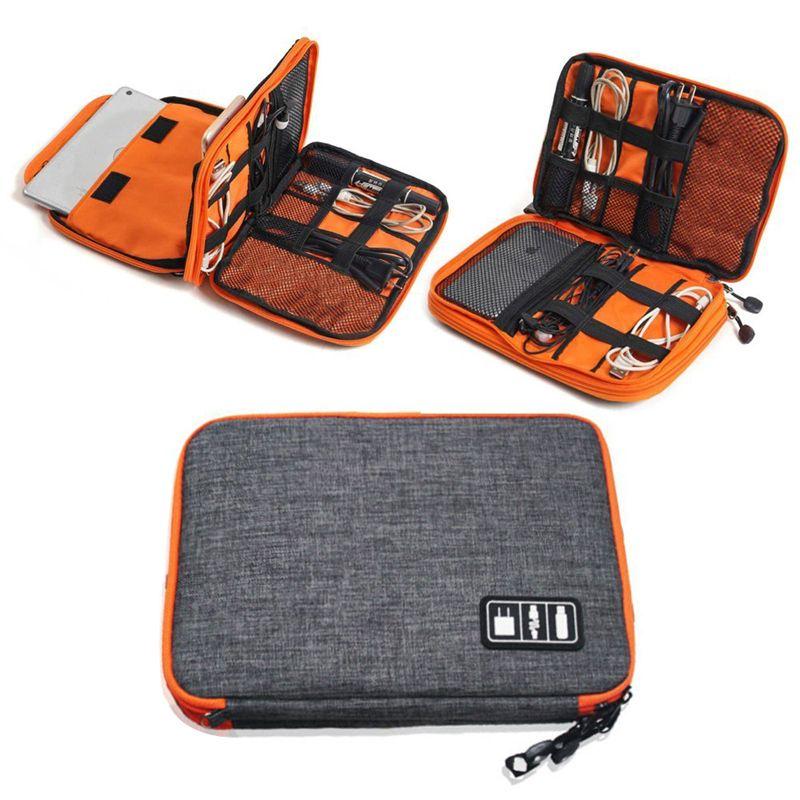 Sac d'organisateur d'accessoires électroniques de voyage de haute qualité en Nylon 2 couches, sac de transport de Gadget de voyage, taille parfaite pour iPad
