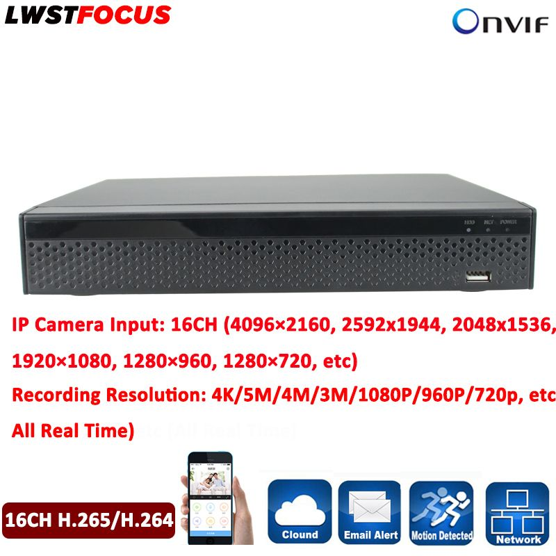 16Channel H.265/H.264 Security CCTV DVR NVR Video Recorder 1080P ONVIF 1 SATA Hard Disk Interface (Up to 6TB) All Real Time