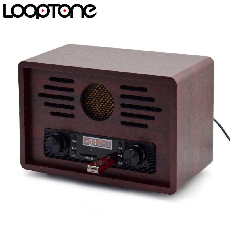 LoopTone Tabletop USB AM/FM Hi-Fi Radio Vintage Retro Classic Radio W/ Built-in Speaker FM Recorder Wooden 110~130V & 220~240V