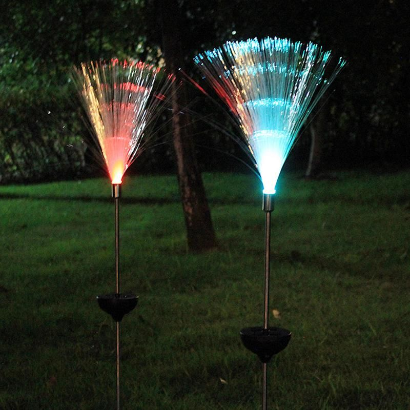 2Pcs Solar Powered Lamp Optical Fiber Garden Solar Light Novelty Color <font><b>Changing</b></font> LED Outdoor Lawn Night Decorative Lamp