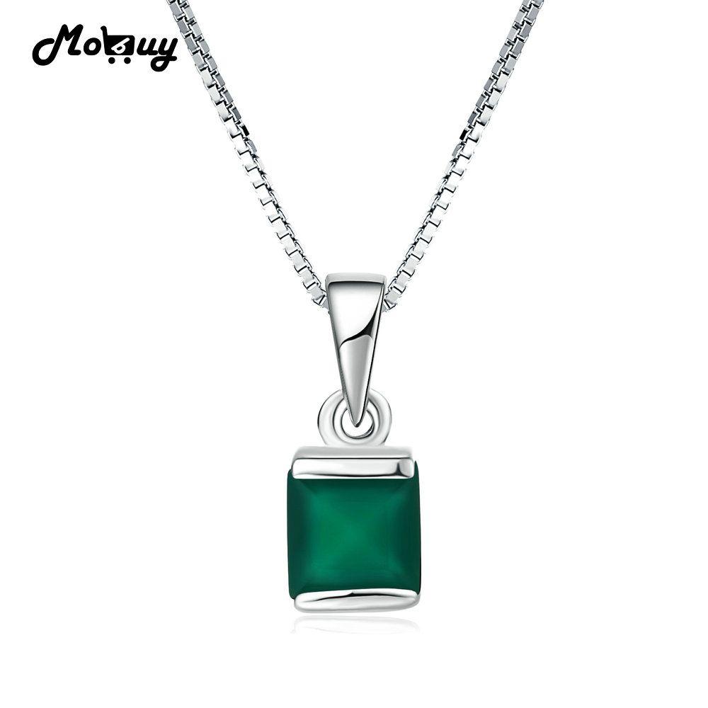 Mobuy MBNI038 природных драгоценных камней квадратный Зеленый Халцедон ожерелья и кулоны 925 стерлингового серебра--ювелирные изделия из белого з...