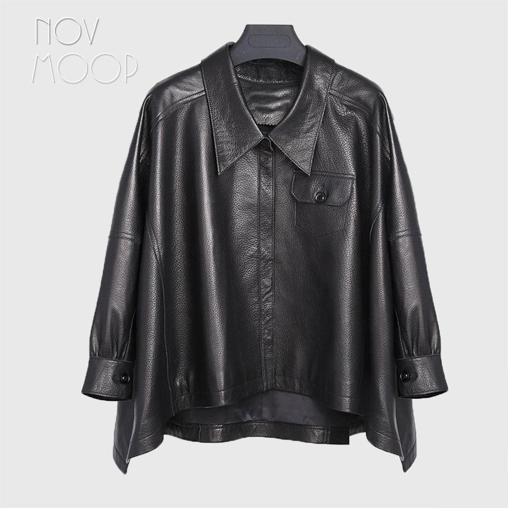 Frauen schwarz echt lammfell pebbled-leder poncho mäntel jacken outwear unebenen saum front taschen casaco feminino ropa LT2483
