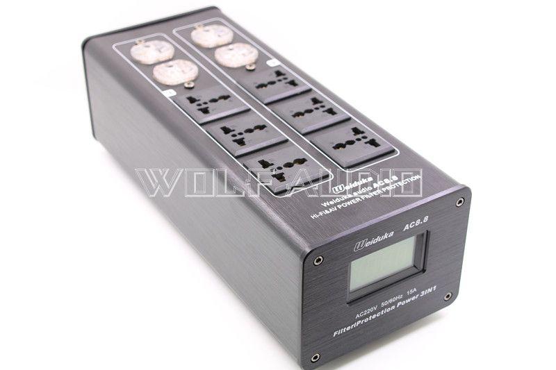Weiduka AC8.8 Hochwertige Netzteil Filter Power Purifier Buchse Blitzschutz Mit Spannung Display Für HiFi Audio