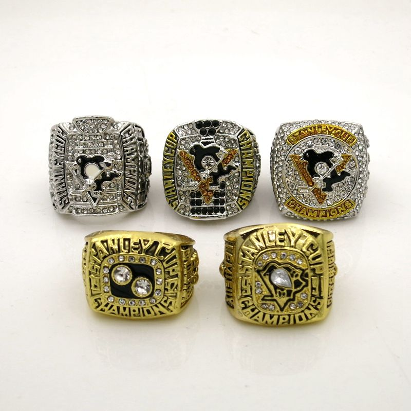 5pcs/set 1991 1992 2009 2016 2017 Pittsburgh Penguins Stanley Cup Championship ring