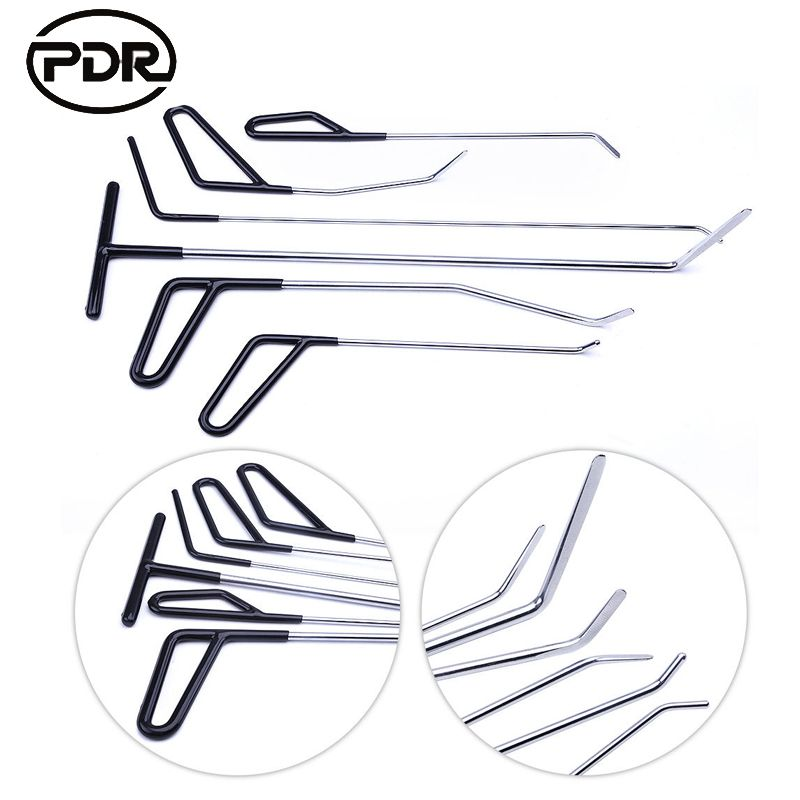 PDR Paintless Dent Removal Repair Hooks Push Rods Door Dings Hail Repair Spring Steel Rods Hail Damage Repair High Quality