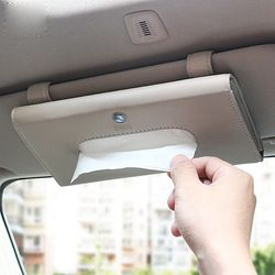 Mobil Sun Visor Kulit Kotak Tisu untuk Audi Ford BMW Benz Volkswagen Cadillac Land Rover Dekorasi Interior Auto Accessorie