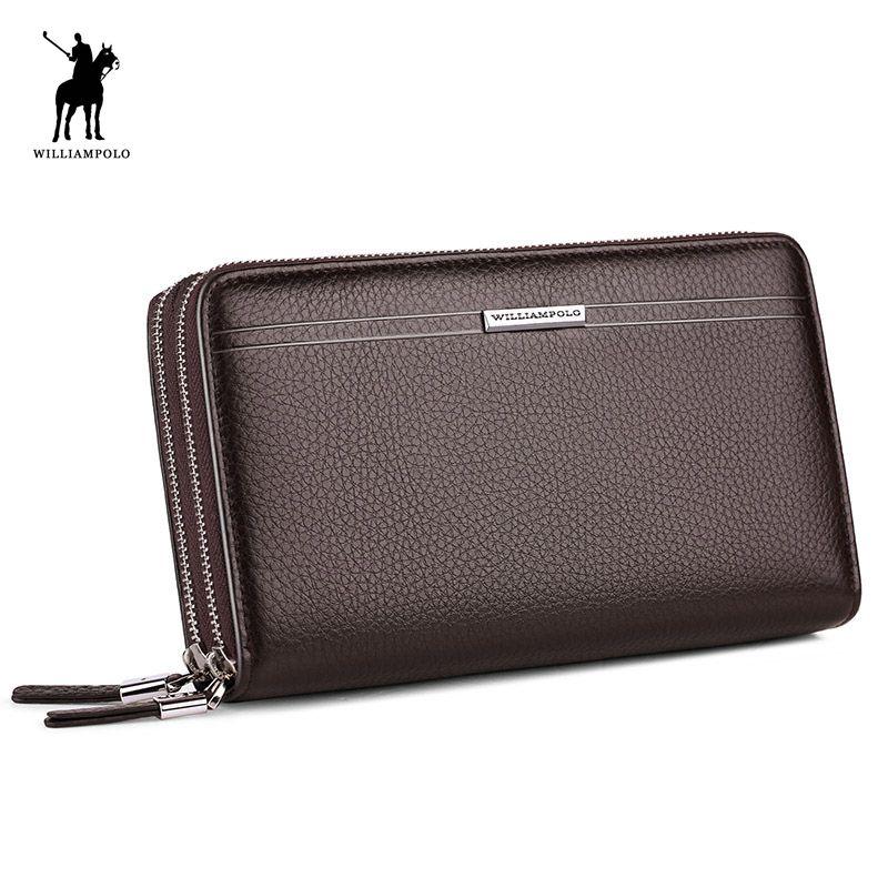 WilliamPOLO 2018 Leder Vintage Feste Kupplung Tasche Telefon Fällen Marke Herren Brieftasche Doppel-reißverschluss Aus Echtem Leder Tasche POLO163