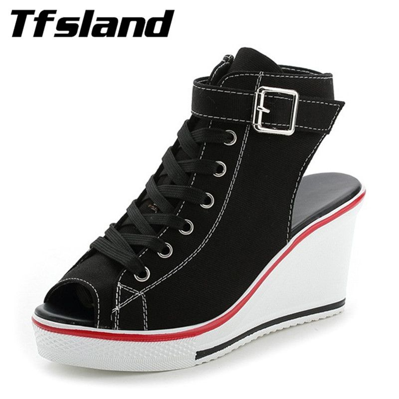 Tfsland Women Buckles Peep Toe Wedge Platform Canvas Shoes Sexy Female Summer Lace Up High Heels Sandals Walking Shoes Sneakers