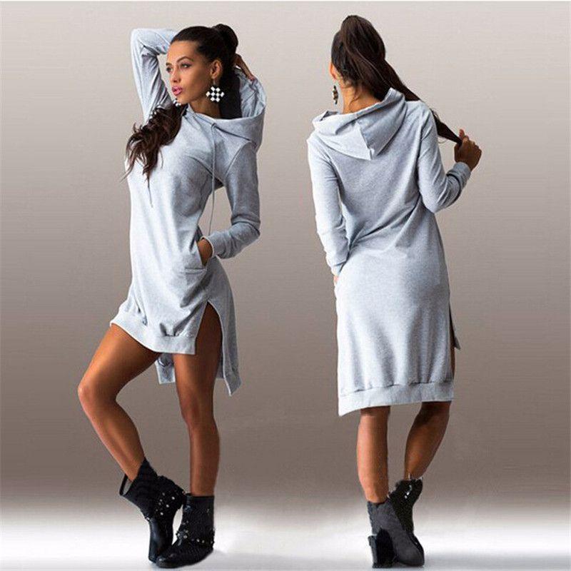 Women hooded 2016 <font><b>Autumn</b></font> Hoodie Long Sleeve Slim College Style Women hoody Dress Letter Print Hooded Front Pocket sweatshirt