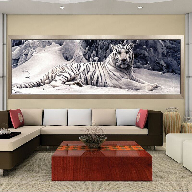 Miaodu 5D DIY Diamond Embroidery Cross Stitch Diamond Painting White Tiger Square Drill Round Mosaic Animals Home Painting Decor