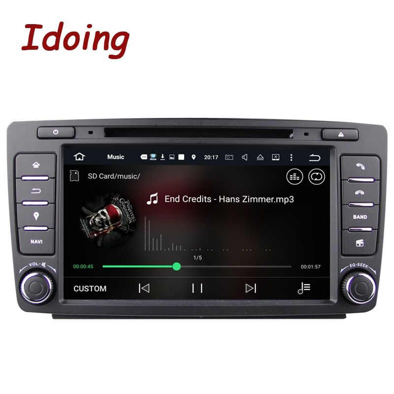 Idoing 2Din Steering-Wheel Car DVD Multimedia Video Player For Skoda Octavia 2 Android7.1Car GPS Navigation 4Core 2G+16G 3G Wifi