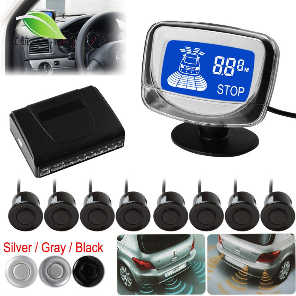 Light heart Waterproof 8 Rear and Front View Car Parking Sensors with Display Monitor - 3 Optional Colors
