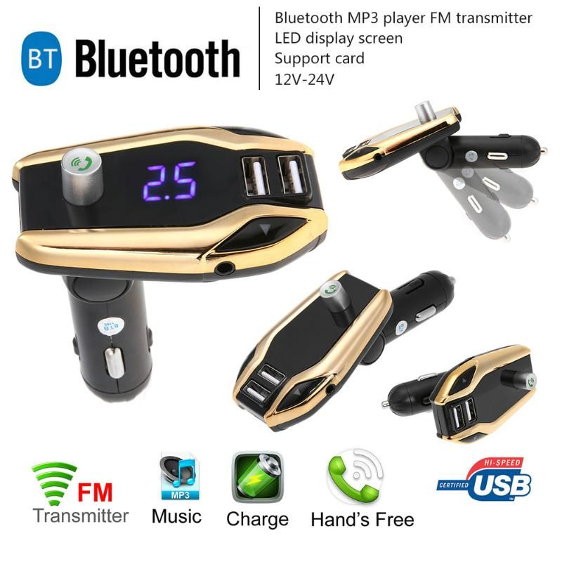 1Pcs LCD Bluetooth V3.0 Car Kit FM Transmitter Stereo MP3 Player USB Charger AUX Hands Free Music Mini MP3 Player Car Styling